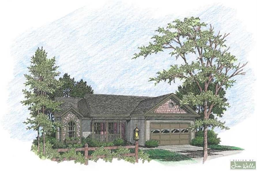 Home Plan Rendering of this 3-Bedroom,1381 Sq Ft Plan -109-1118