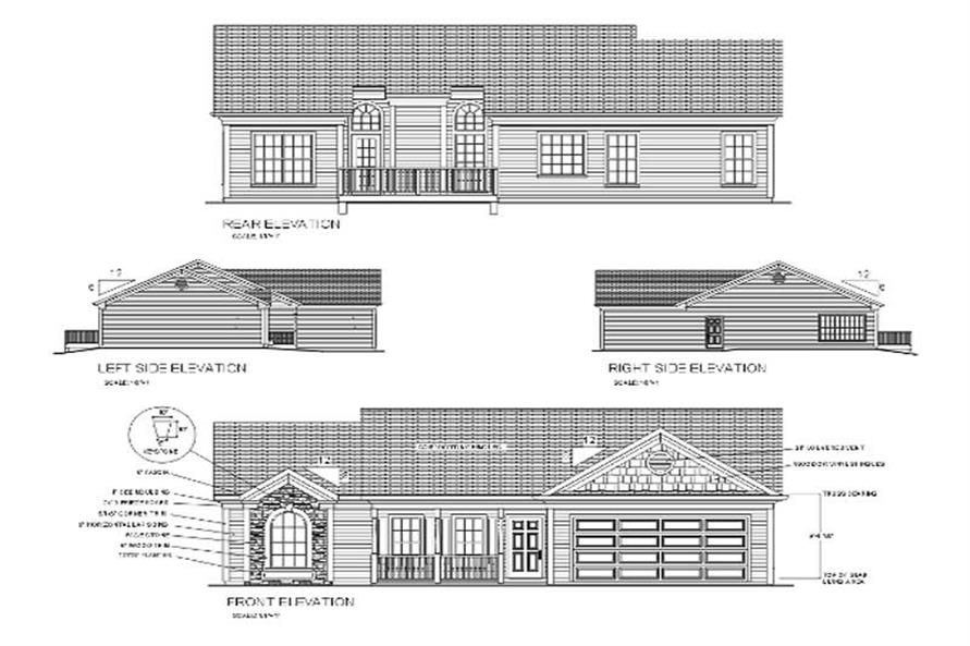 Home Plan Rear Elevation of this 3-Bedroom,1381 Sq Ft Plan -109-1118