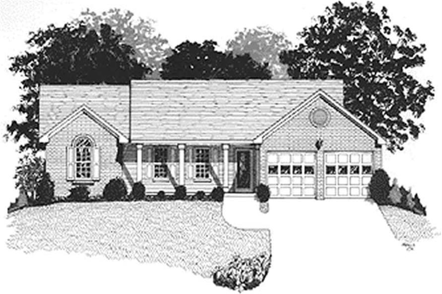 Home Plan Rendering of this 3-Bedroom,1197 Sq Ft Plan -109-1121