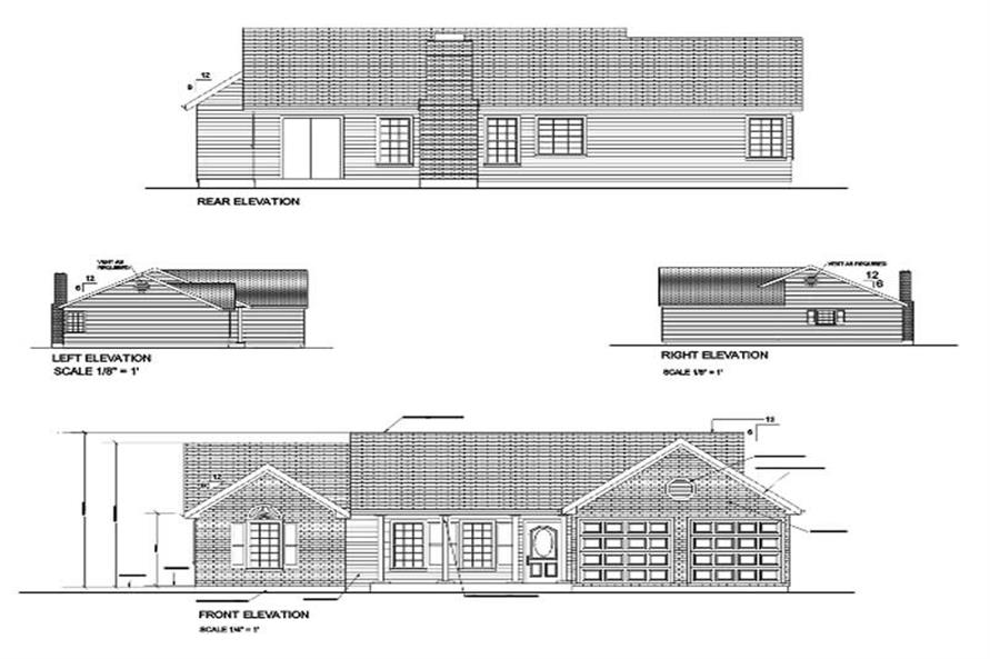 Home Plan Rear Elevation of this 3-Bedroom,1197 Sq Ft Plan -109-1121
