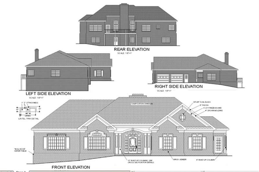 Home Plan Rear Elevation of this 3-Bedroom,2398 Sq Ft Plan -109-1127