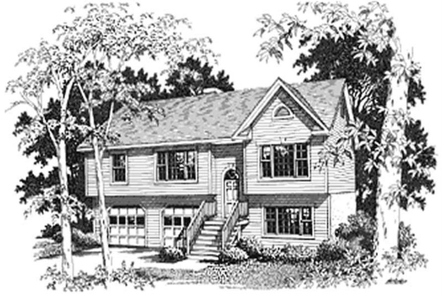 Home Plan Front Elevation of this 3-Bedroom,1579 Sq Ft Plan -109-1129