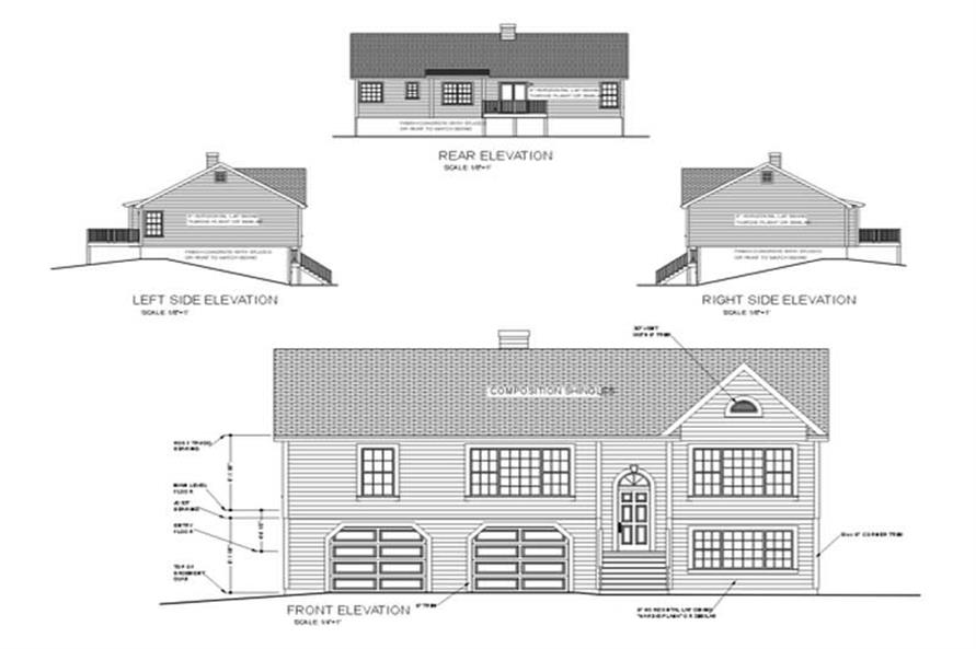 Home Plan Rear Elevation of this 3-Bedroom,1579 Sq Ft Plan -109-1129