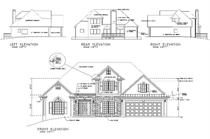 Home Plan Rear Elevation of this 4-Bedroom,1871 Sq Ft Plan -109-1132