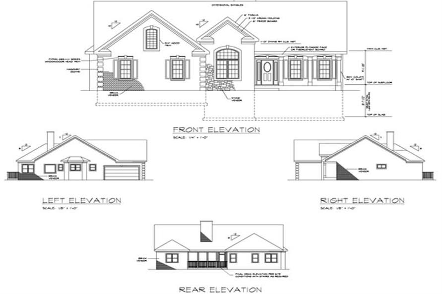 Home Plan Rear Elevation of this 3-Bedroom,1963 Sq Ft Plan -109-1133