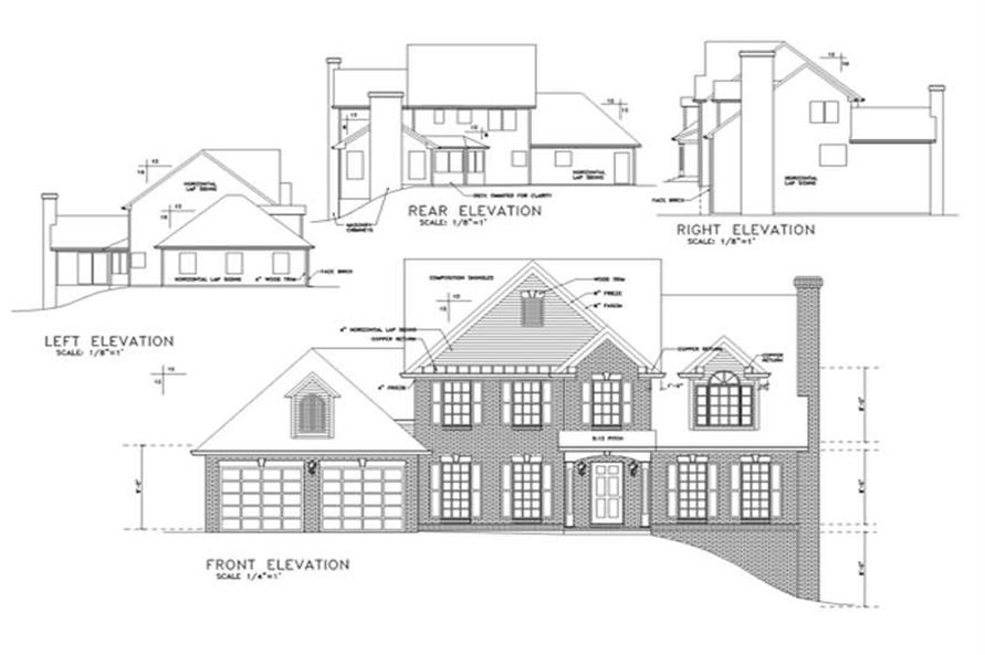 Home Plan Rear Elevation of this 4-Bedroom,1980 Sq Ft Plan -109-1135