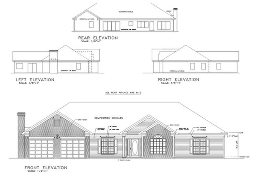 Home Plan Rear Elevation of this 4-Bedroom,1814 Sq Ft Plan -109-1149