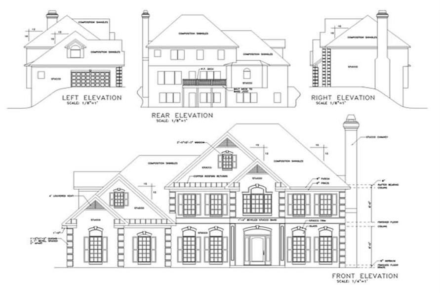 Home Plan Rear Elevation of this 4-Bedroom,2897 Sq Ft Plan -109-1154