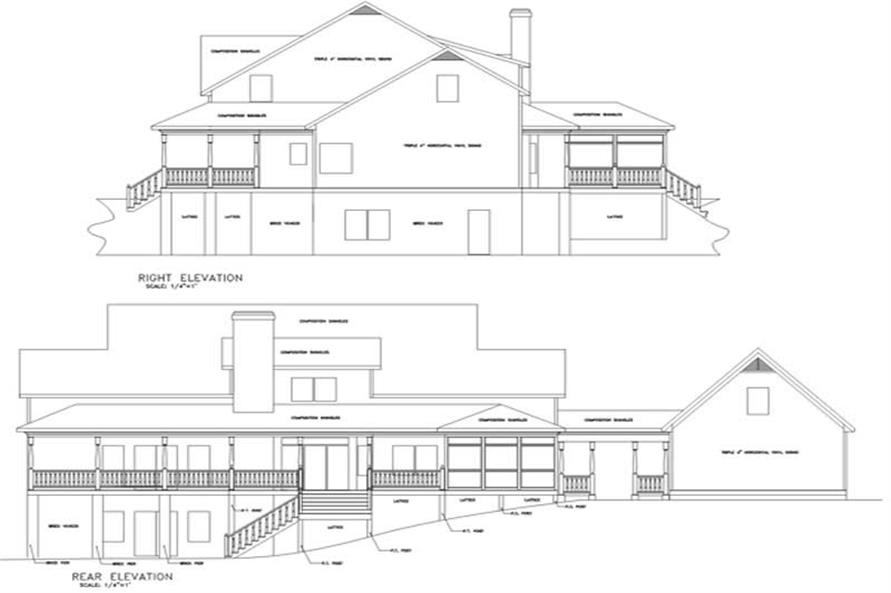 Home Plan Rear Elevation of this 4-Bedroom,3483 Sq Ft Plan -109-1159