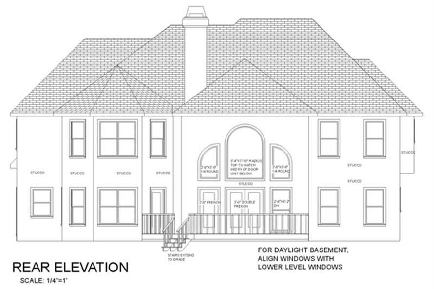Home Plan Rear Elevation of this 5-Bedroom,3500 Sq Ft Plan -109-1160