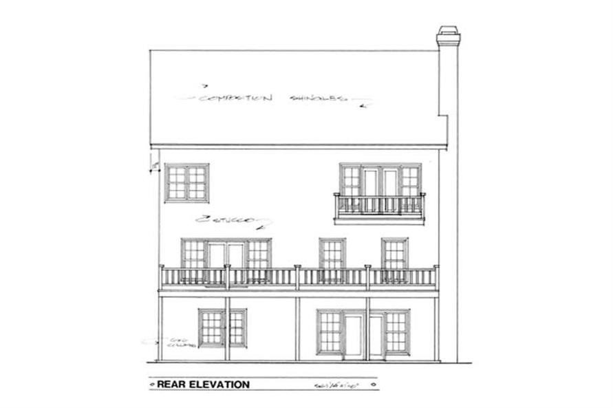 Home Plan Rear Elevation of this 5-Bedroom,3586 Sq Ft Plan -109-1162