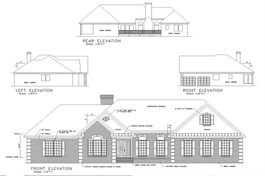 Home Plan Rear Elevation of this 4-Bedroom,2187 Sq Ft Plan -109-1166