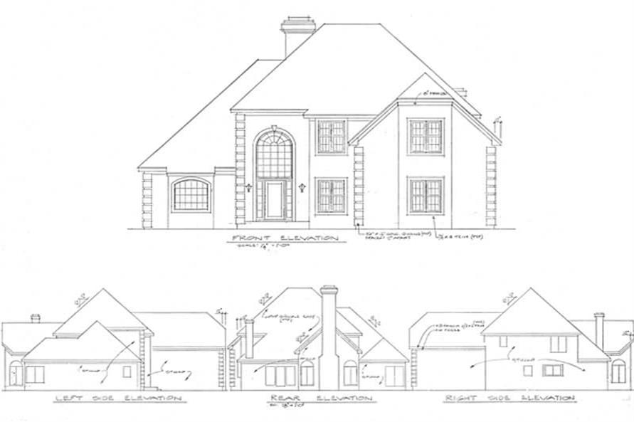 Home Plan Rear Elevation of this 3-Bedroom,3011 Sq Ft Plan -109-1170
