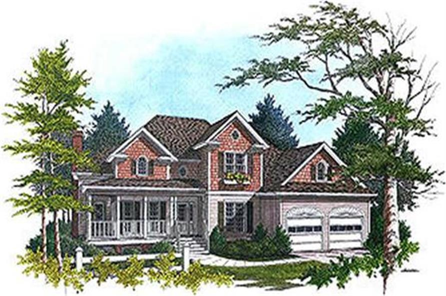 Home Plan Front Elevation of this 3-Bedroom,2416 Sq Ft Plan -109-1173