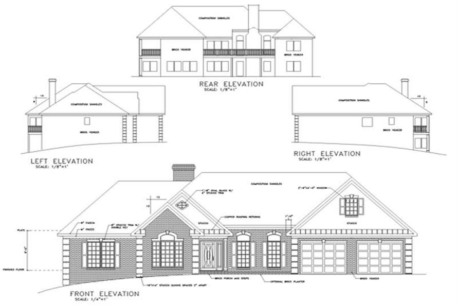 Home Plan Rear Elevation of this 3-Bedroom,2088 Sq Ft Plan -109-1174