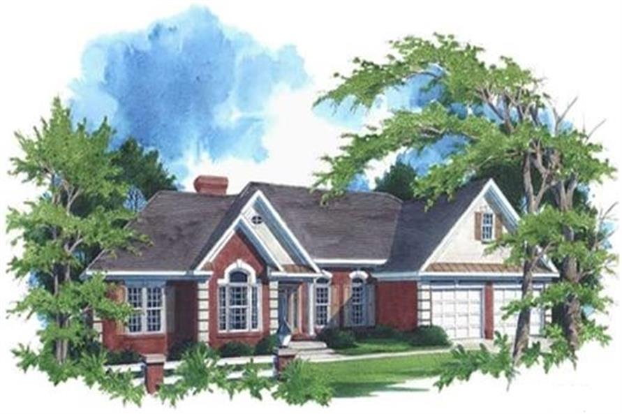 Home Plan Front Elevation of this 3-Bedroom,2088 Sq Ft Plan -109-1174