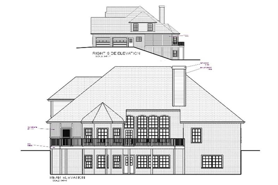 Home Plan Rear Elevation of this 4-Bedroom,2253 Sq Ft Plan -109-1179