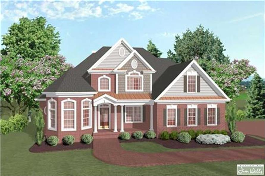 Home Plan Front Elevation of this 4-Bedroom,2253 Sq Ft Plan -109-1179