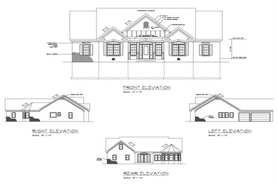 Home Plan Rear Elevation of this 3-Bedroom,2260 Sq Ft Plan -109-1183