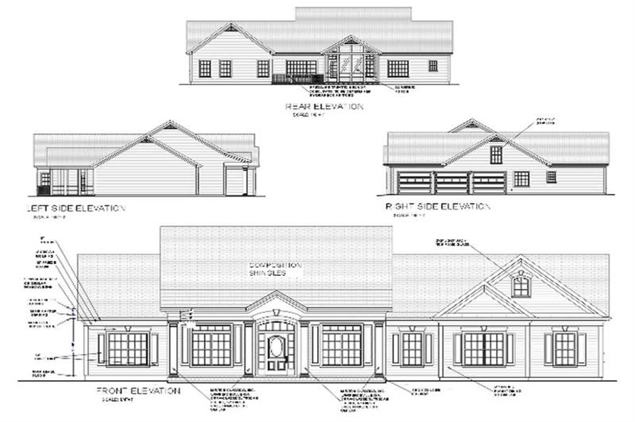 Sample Front Elevation Yourself : Colonial ranch home plan bdrm sq ft house