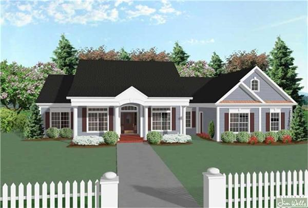 109-1184 house plan front rendering