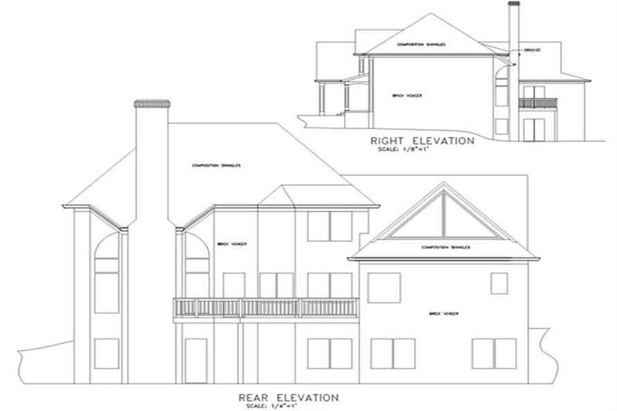 Home Plan Rear Elevation of this 4-Bedroom,2546 Sq Ft Plan -109-1185