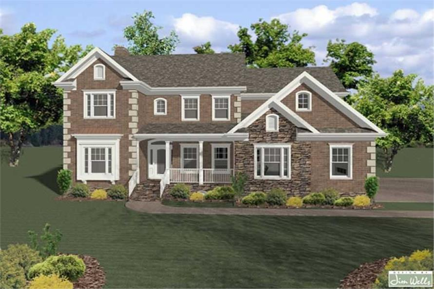 4-Bedroom, 2698 Sq Ft Traditional Home Plan - 109-1190 - Main Exterior