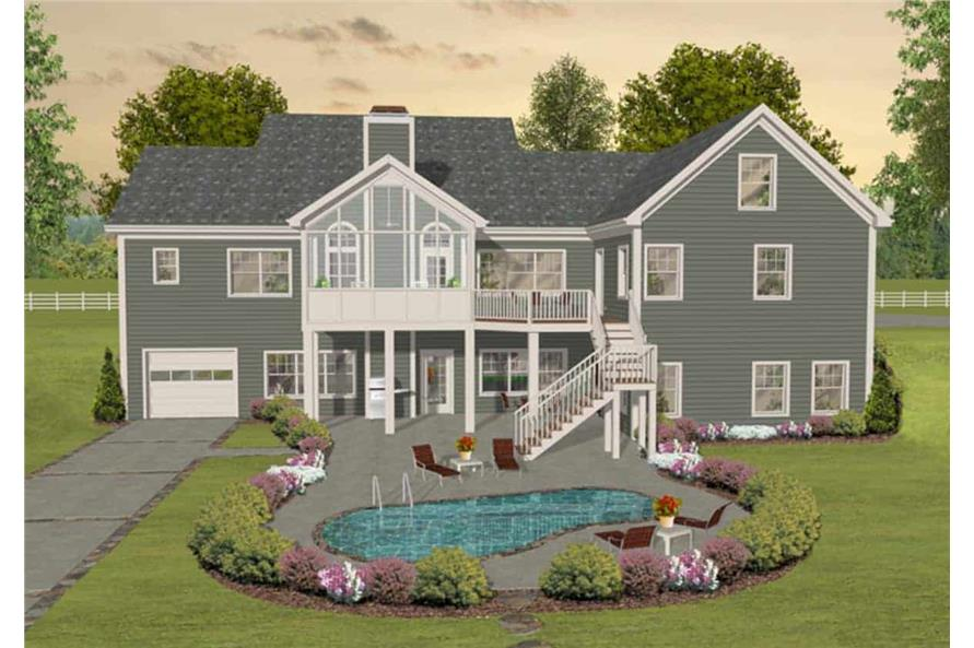 Rear View of this 3-Bedroom,2156 Sq Ft Plan -109-1193