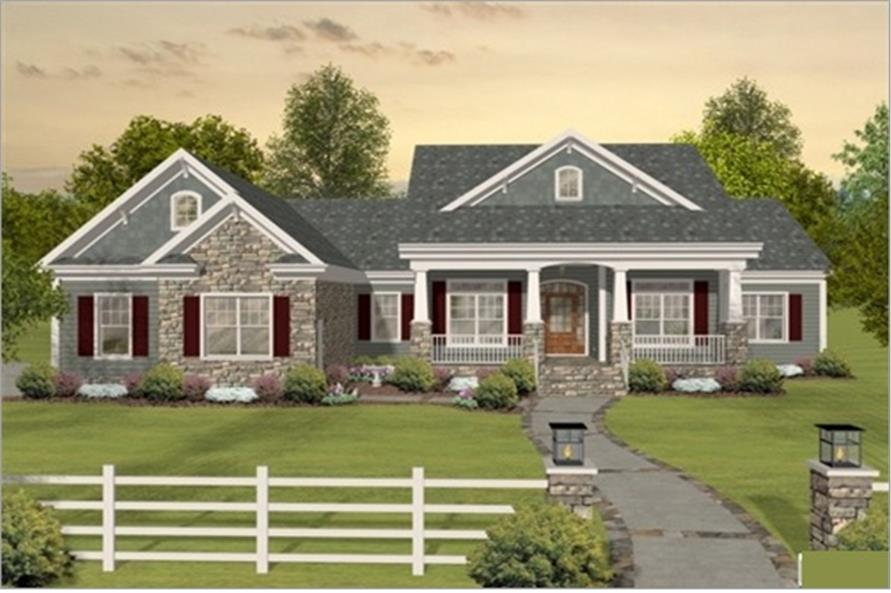 Color rendering of Country home plan (ThePlanCollection: House Plan #109-1193)