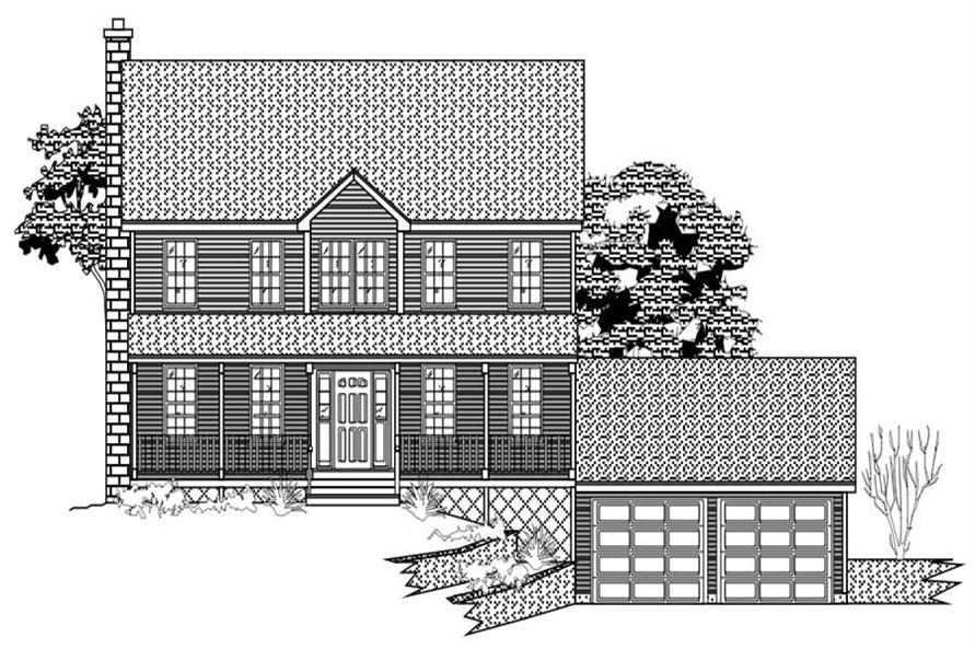 This is a black and white rendering of these Country House Plans.