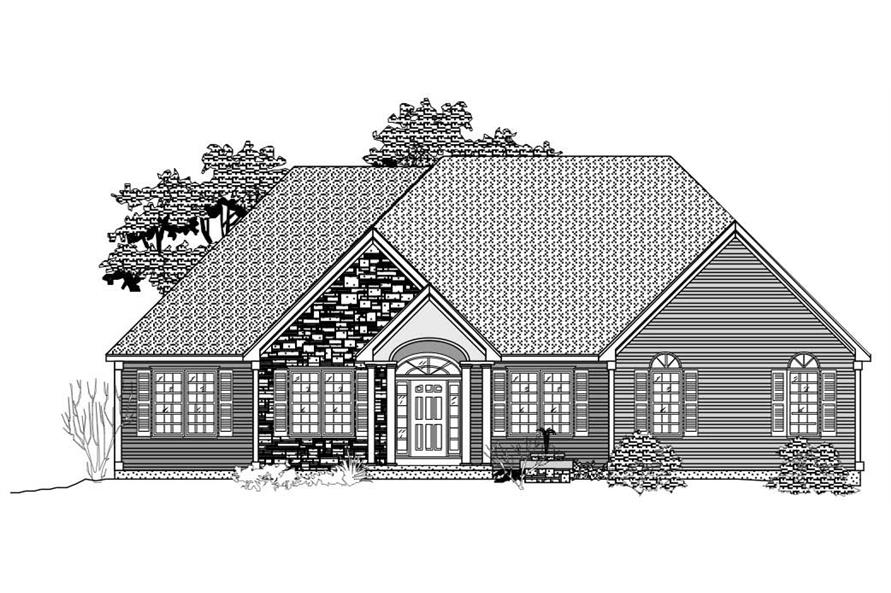 This image shows the front elevation of these black and white European Home Plans.