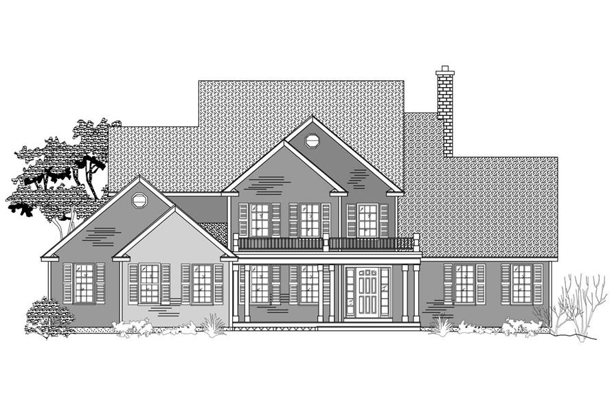 This is a black and white set of Country House Plans.