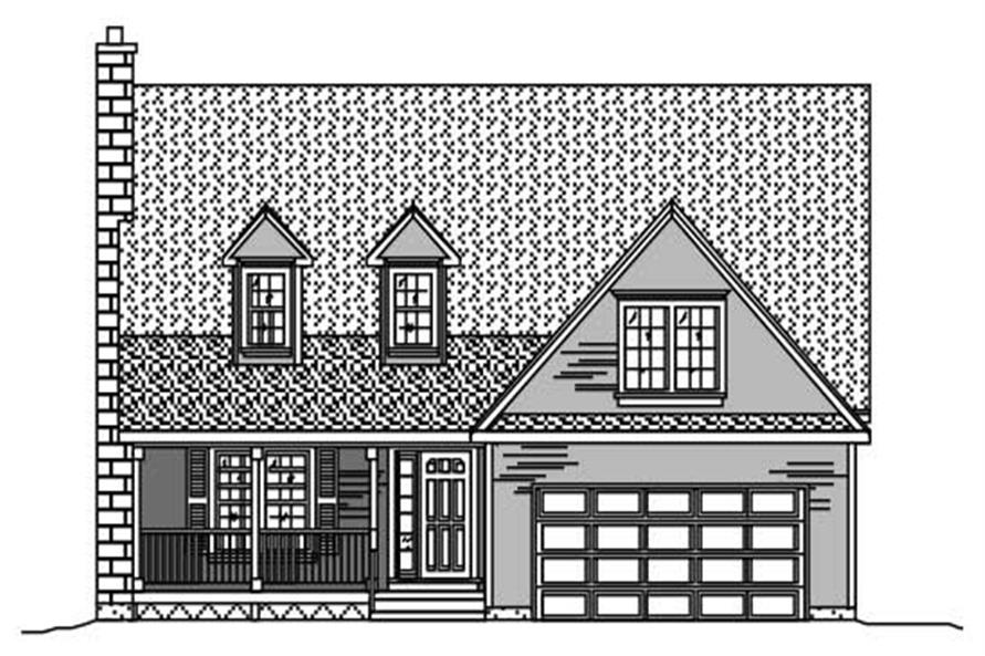 This is a black and white elevation for these Country House Plans.