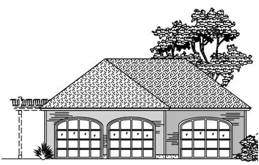 This is the black and white front elevation of these Garage Plans.