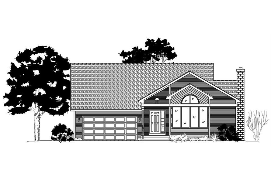 This is a black and white elevation of these Ranch Home Plans.