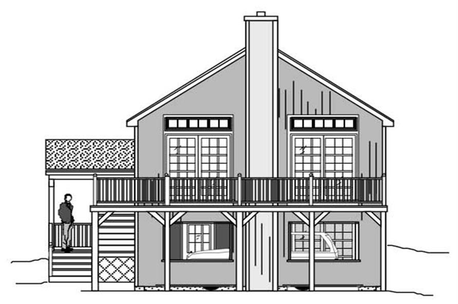 This is a black and white rendering of these Multi-Level Home Plans.