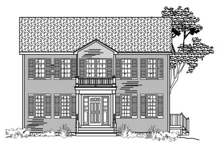 This is the front elevation of these Colonial Country House Plans.