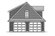 This is the front elevation for these Garage Plans.