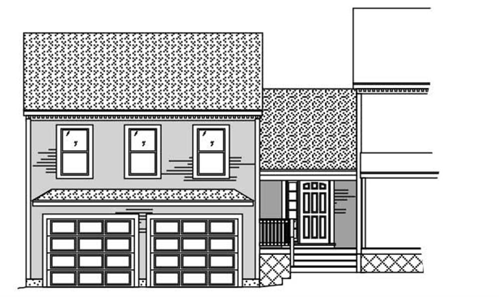 This image shows the front elevation of these garage plans.