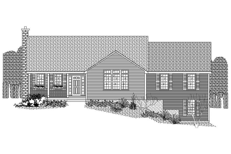 This is the black and white front elevation of these Country Homeplans.