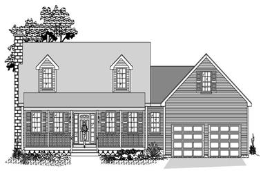 3-Bedroom, 1805 Sq Ft Cape Cod Home Plan - 110-1031 - Main Exterior