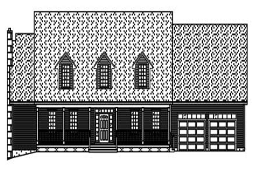 This is the black and white elevation of these Country Home Plans.
