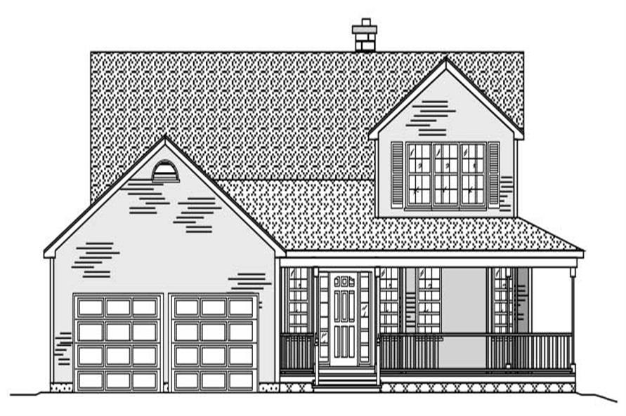 This is the black and white front elevation of these Country House Plans.