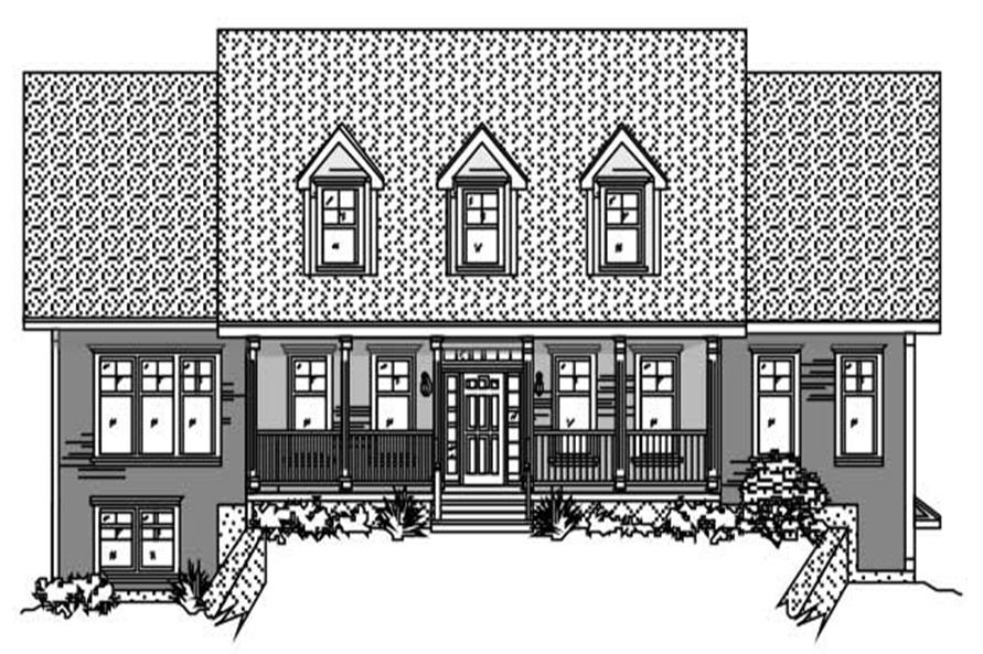 This is the front elevation of these Country Houseplans.
