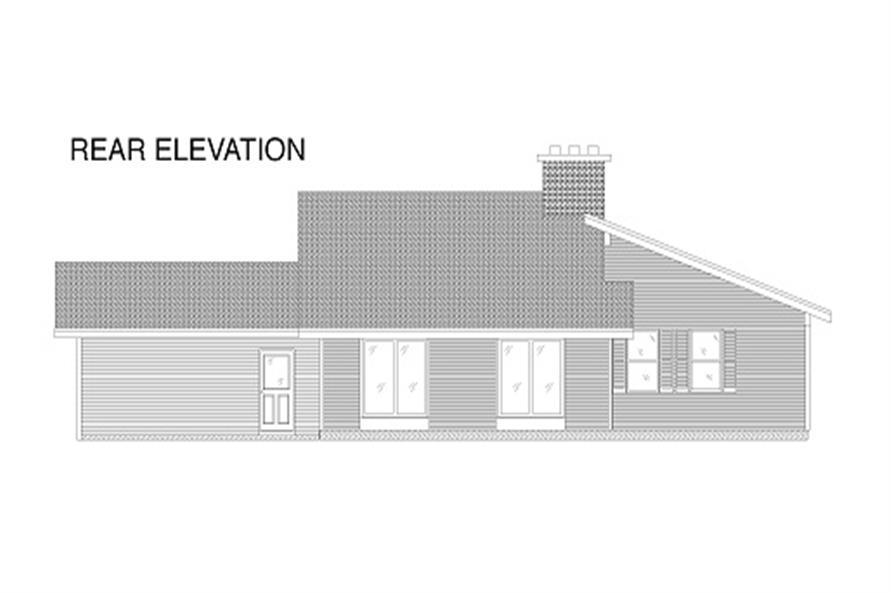110-1038 house plan rear elevation