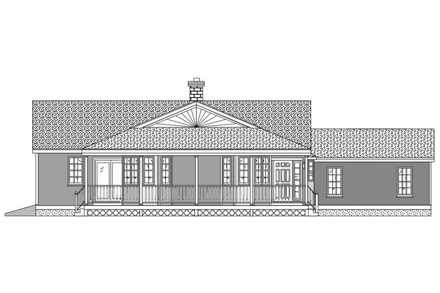This is a black and white front rendering of these House Plans.