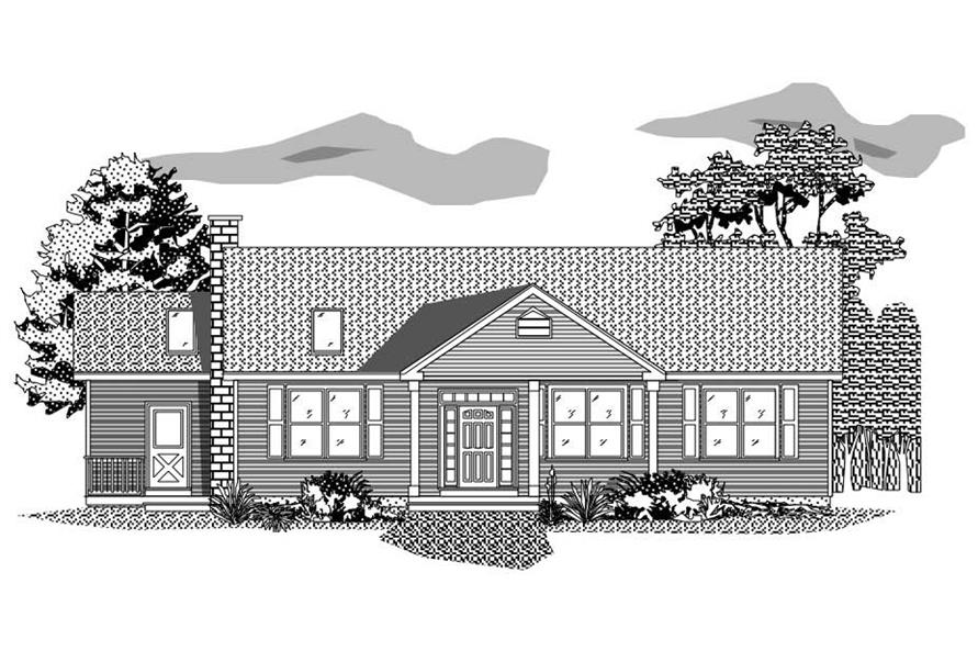 This is the front elevation of these Ranch Homeplans.