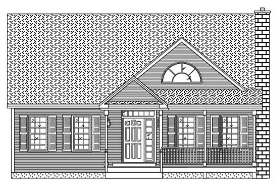 This is the front elevation of these Country Home Plans.