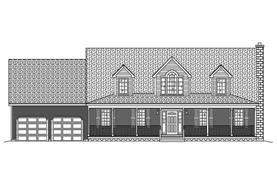 This is the front elevation of these Country Ranch Homeplans.