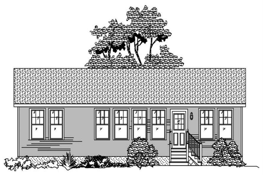 This image shows the front elevation in black in white of these Ranch House Plans.